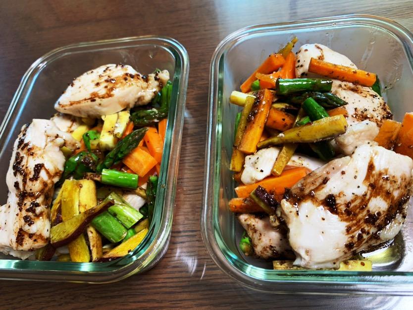鶏の野菜のバルサミコソース