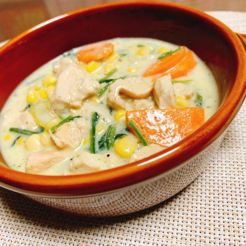 鶏むね肉と野菜のコーンスープ