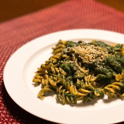 ひよこ豆のフジッリ ほうれん草のスパイスカレー